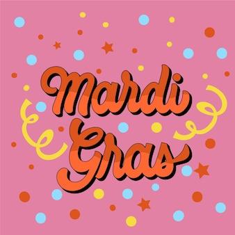 Płaski napis mardi gras