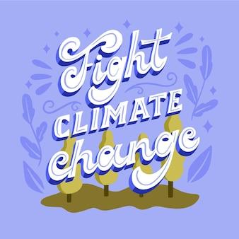 Płaski napis w stylu zmiany klimatu