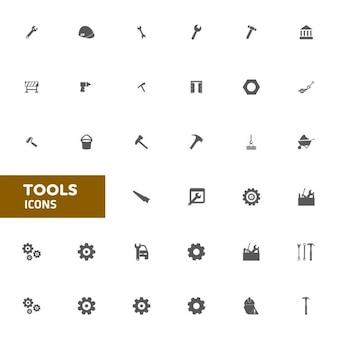 Płaski narzędzie icon set