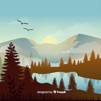 Płaski naturalny krajobraz z drzewami