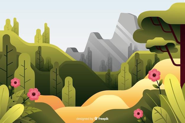 Płaski naturalny krajobraz z roślinnością