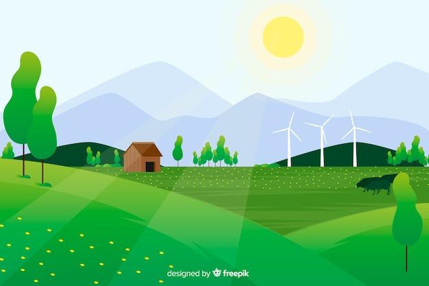 Płaski naturalny krajobraz ze słońcem i farmy w lesie