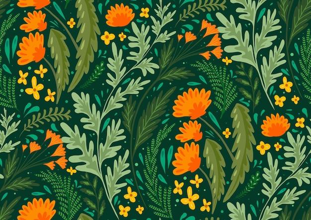 Płaski naturalny wzór z ziół i kwiatów pól. tapeta z mniszkiem lekarskim, piołunem, koprem włoskim i jaskierami. tkanina z roślinami. tło wektor