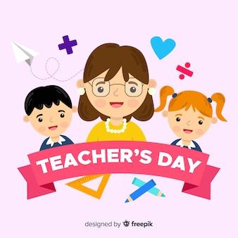 Płaski nauczyciel między uczniami a przedmiotami szkolnymi