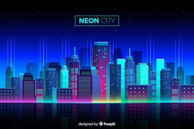 Płaski neon cityscape tło
