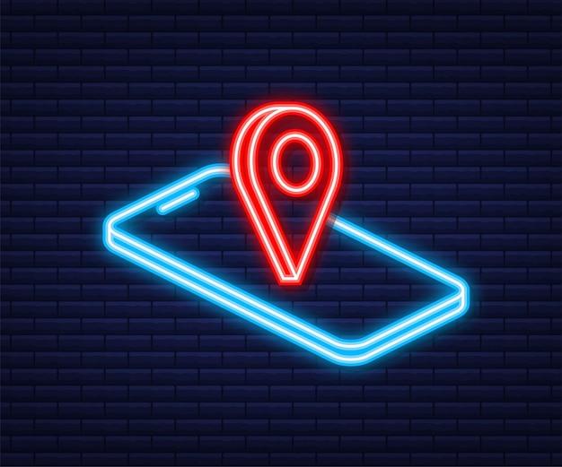 Płaski neon ikona. przypnij smartfon w stylu 3d. mapa ilustracji wektorowych. symbol miejsca. dostawa. koncepcja podróży.