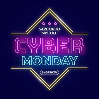 Płaski neon neonowy napis cyber
