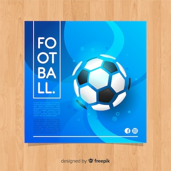 Płaski niebieski piłka nożna szablon transparent