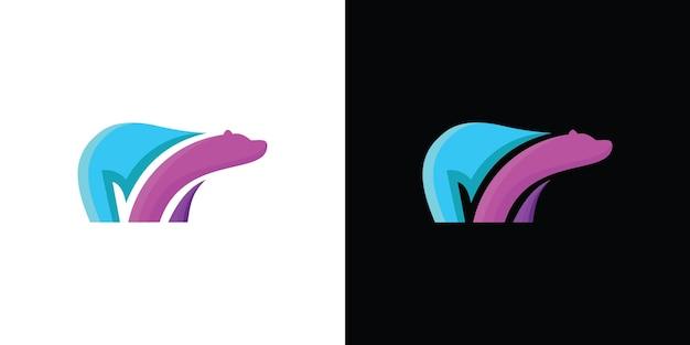Płaski niedźwiedź spacer logo symbol ilustracja premium wektorów