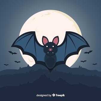 Płaski nietoperz halloween w noc pełni księżyca