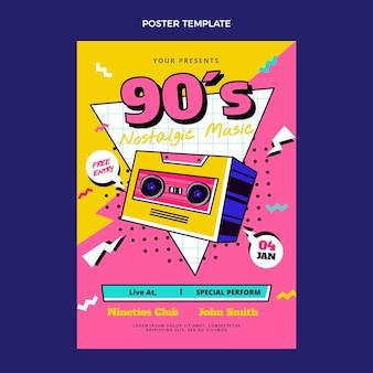 Płaski nostalgiczny plakat festiwalu muzycznego z lat 90.