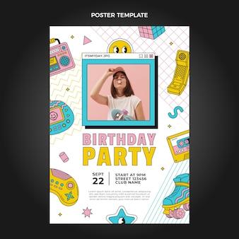Płaski nostalgiczny plakat urodzinowy z lat 90.