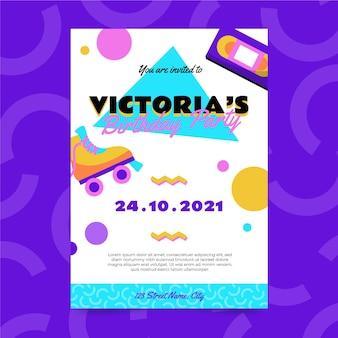 Płaski, nostalgiczny szablon zaproszenia na urodziny z lat 90.