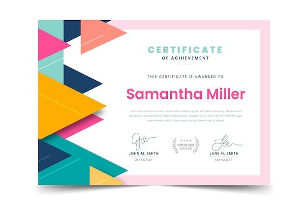 Płaski nowoczesny certyfikat osiągnięcia
