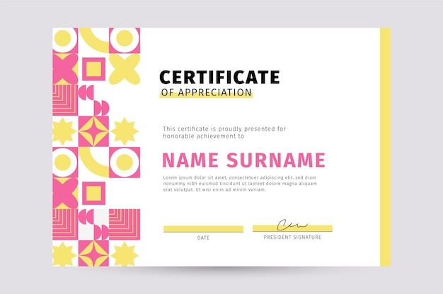 Płaski nowoczesny certyfikat uznania szablon