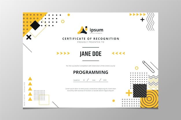 Płaski nowoczesny certyfikat uznania