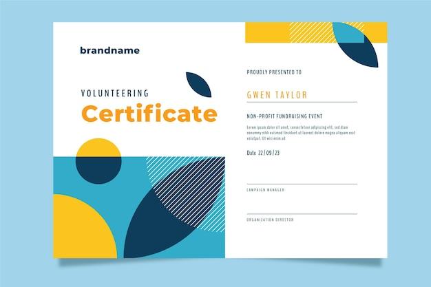 Płaski nowoczesny certyfikat wolontariatu