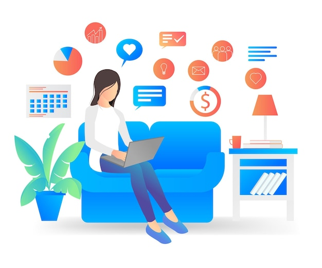 Płaski nowoczesny ilustracja wektorowa o pracy freelancera w domu z laptopem
