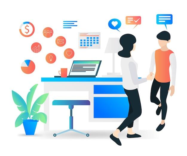 Płaski nowoczesny ilustracja wektorowa o pracy z klientem