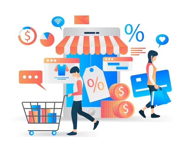 Płaski nowoczesny ilustracja wektorowa o rozwijającym się sklepie internetowym
