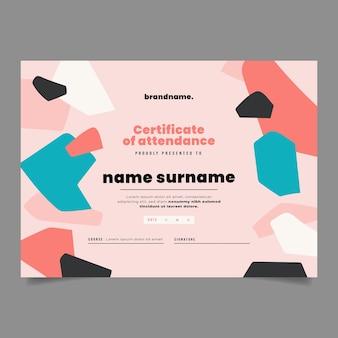Płaski nowoczesny szablon certyfikatu obecności