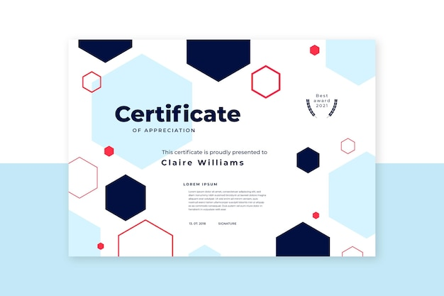 Płaski nowoczesny szablon certyfikatu