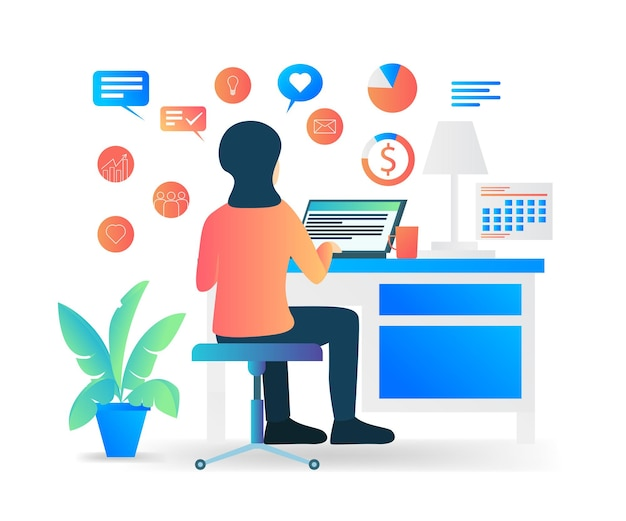 Płaski nowoczesny wektor ilustracja o pracy pracownika w biurze