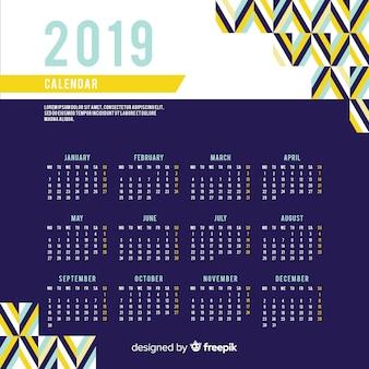 Płaski nowy rok 2019 kalendarz