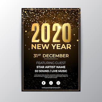 Płaski nowy rok party szablon ulotki