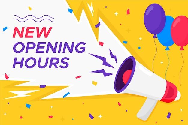 Płaski nowy znak godzin otwarcia