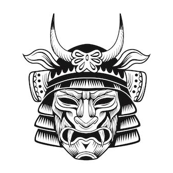 Płaski obraz czarnej maski japońskiego ninja. japonia tradycyjny vintage myśliwiec na białym tle ilustracji wektorowych