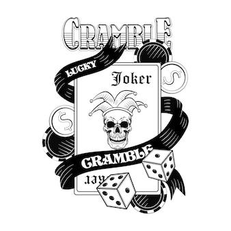 Płaski obraz czaszki kasyna gangstera. vintage logotyp z kartami do gry, jokerem, kapeluszem, pieniędzmi, kostkami