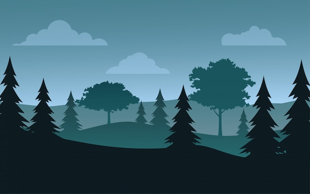 Płaski obraz krajobrazu lasu