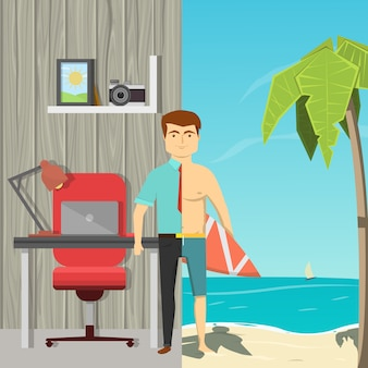 Płaski obraz kreskówka człowieka podzielonego przez pół okrakiem pracy biurowej i wypoczynku na plaży