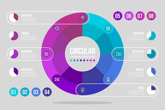 Płaski okrągły schemat infografika szablon