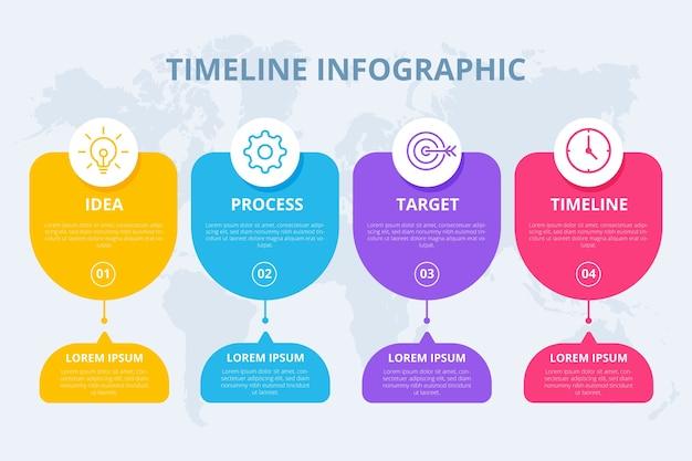 Płaski oś czasu infographic szablon