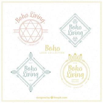 Płaski paczka czterech logotypów etnicznych z ciekawymi motywami