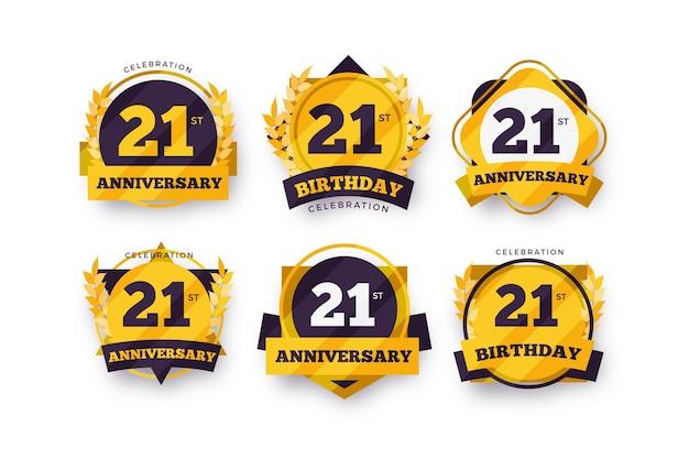 Płaski pakiet 21 rocznicowych odznak