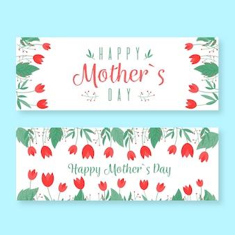Płaski pakiet banner na dzień matki
