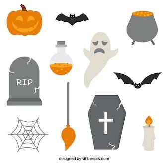 Płaski pakiet cute elementów halloween
