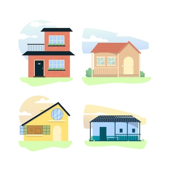Płaski pakiet ilustracji domu