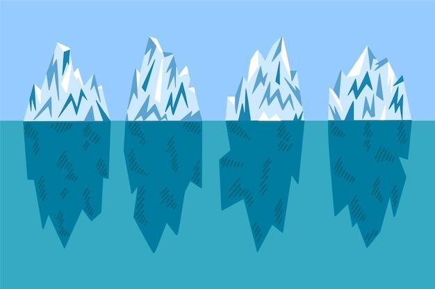 Płaski pakiet ilustracji góry lodowej