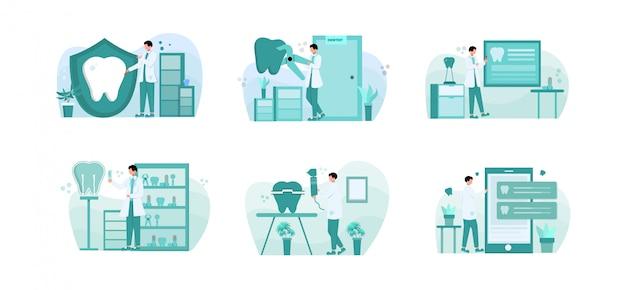 Płaski pakiet ilustracji projekt dentysta z charakterem