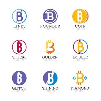 Płaski pakiet logo bitcoin