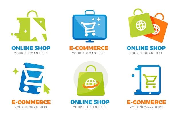 Płaski pakiet logo e-commerce