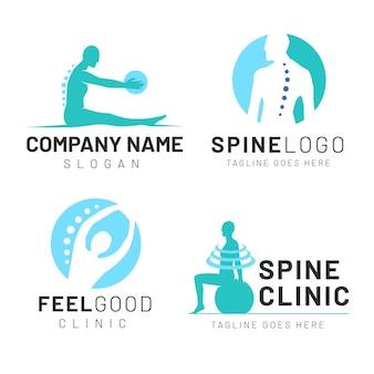 Płaski pakiet logo fizjoterapii