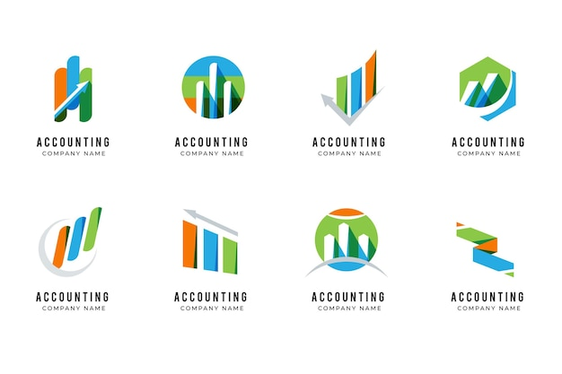 Płaski pakiet logo rachunkowości