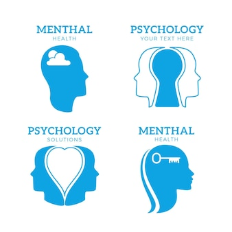 Płaski pakiet logo zdrowia psychicznego
