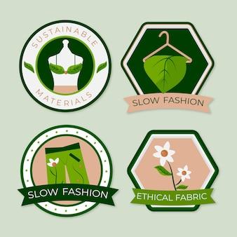 Płaski pakiet odznak w stylu slow fashion