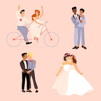 Płaski pakiet par ślubnych